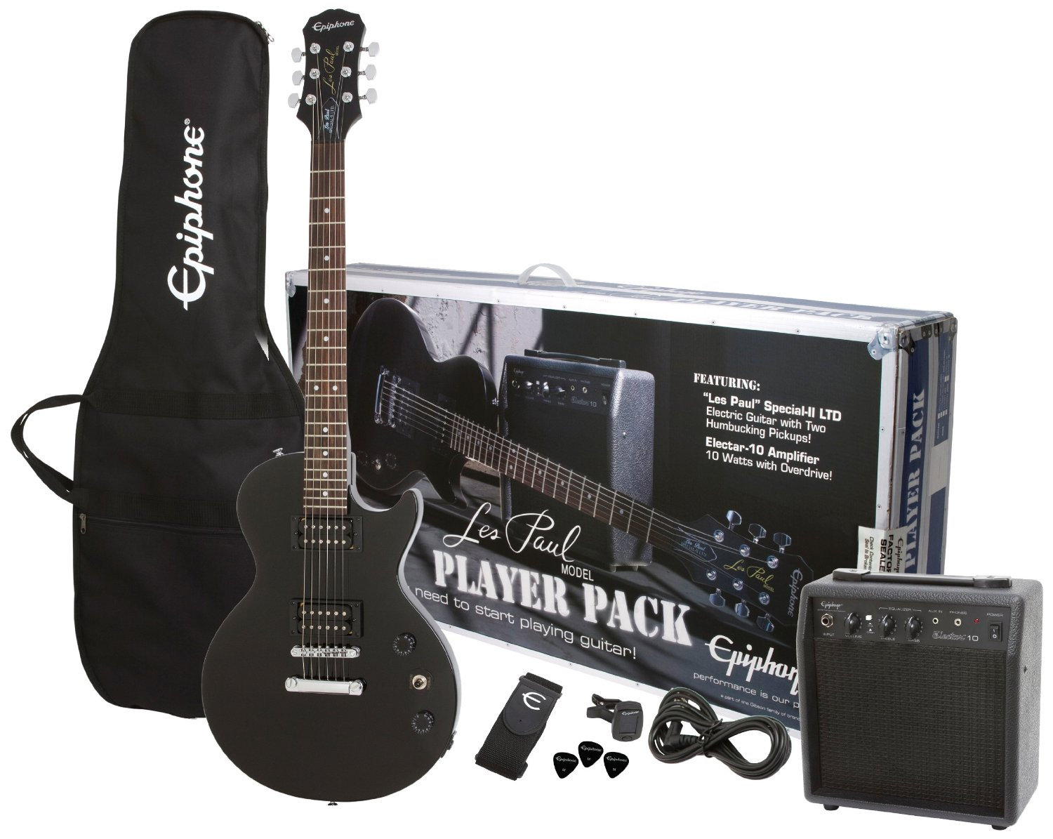 Epiphone Les Paul Player Pack Series PPEG-EGL1EBCH1 Electric Guitar Pack - Ebony