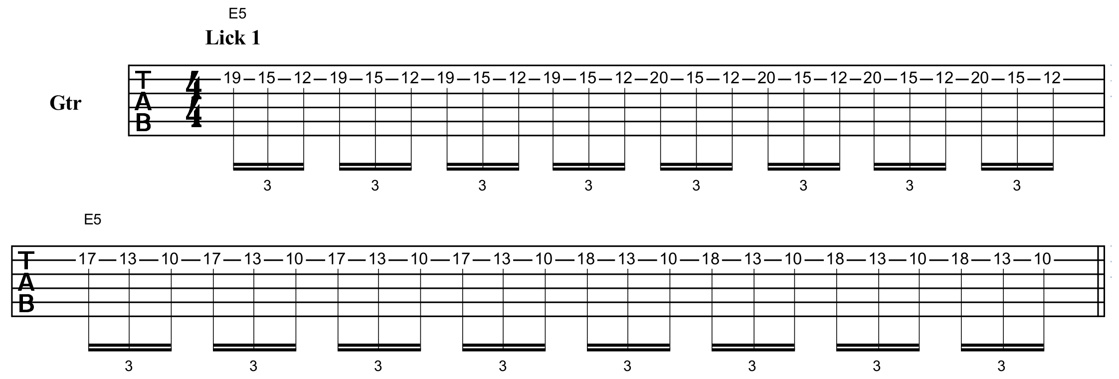 tapping lick in the style of Kirk Hammett's playing on the song One