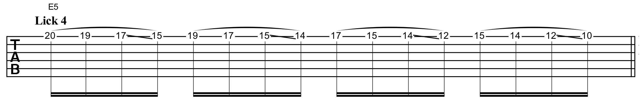 Descending the E minor scale using legato slides and pull-offs