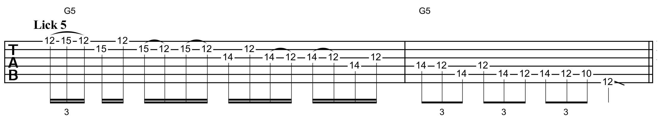 pentatonic lick using sequences of three and legato to descend the scale
