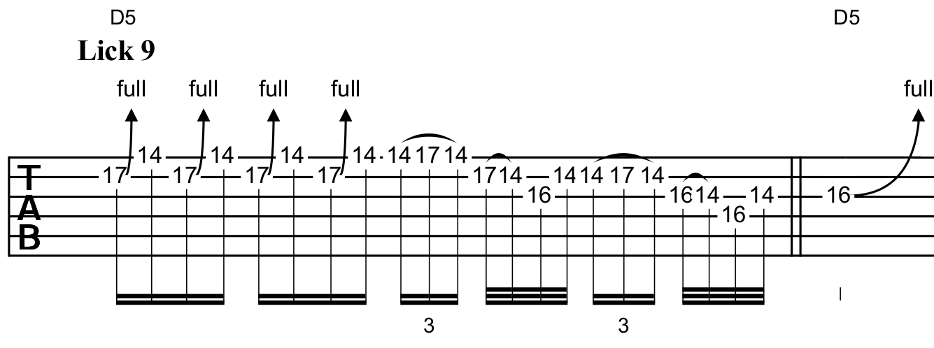 Using the F# minor pentatonic over a D5 chord to increase tension