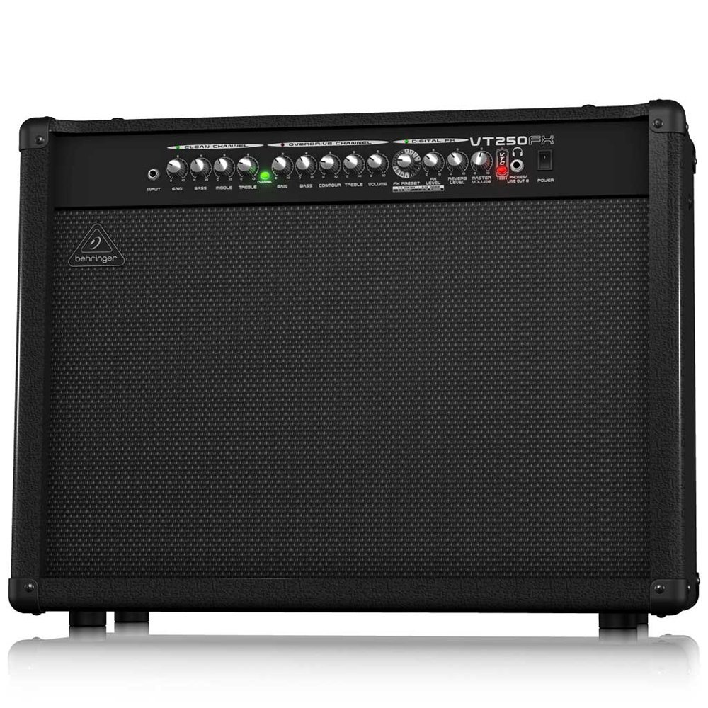 the Behringer vt250fx stereo 2x50 watt amp with virtube modelling technology