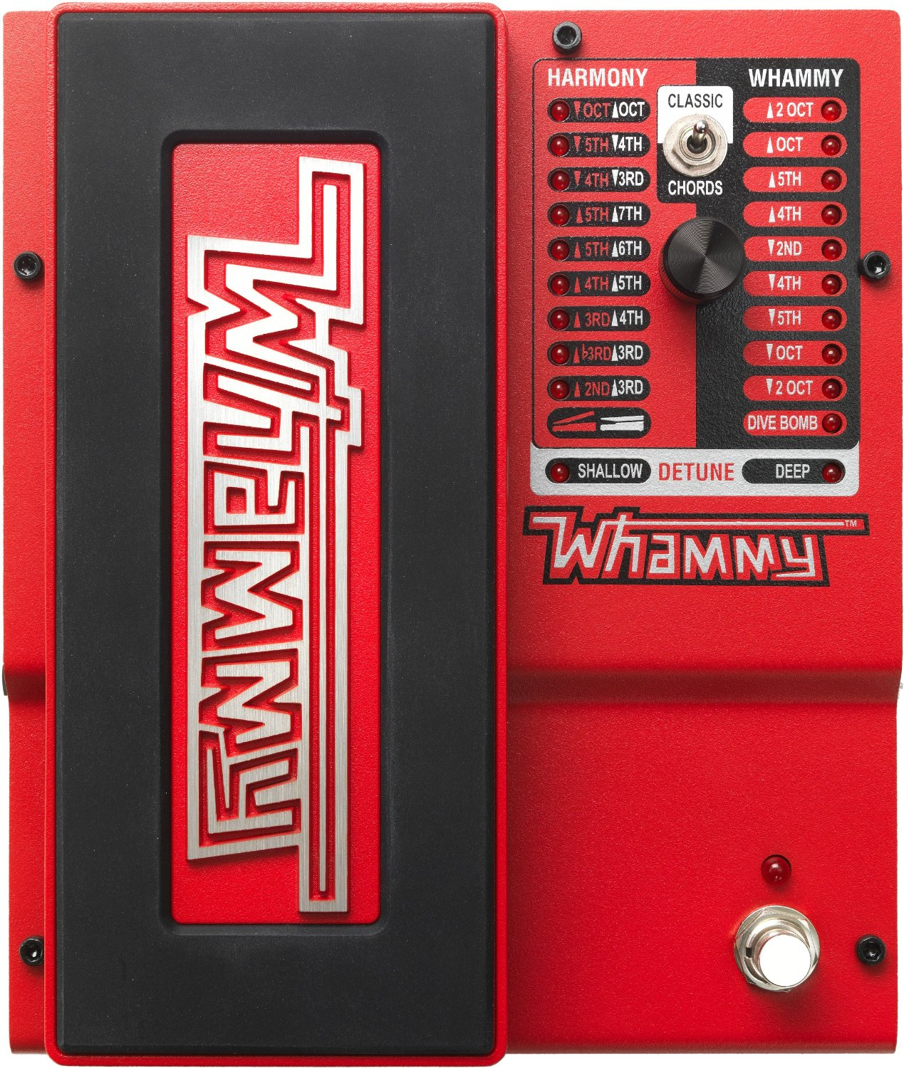 the digitech whammy pedal from the top, showing all the settings