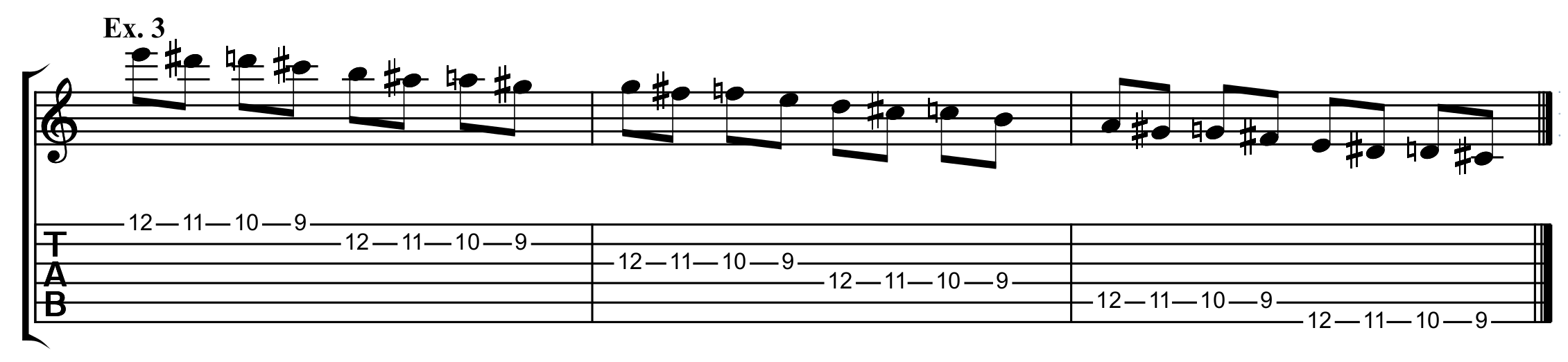the descending spider exercise in tab