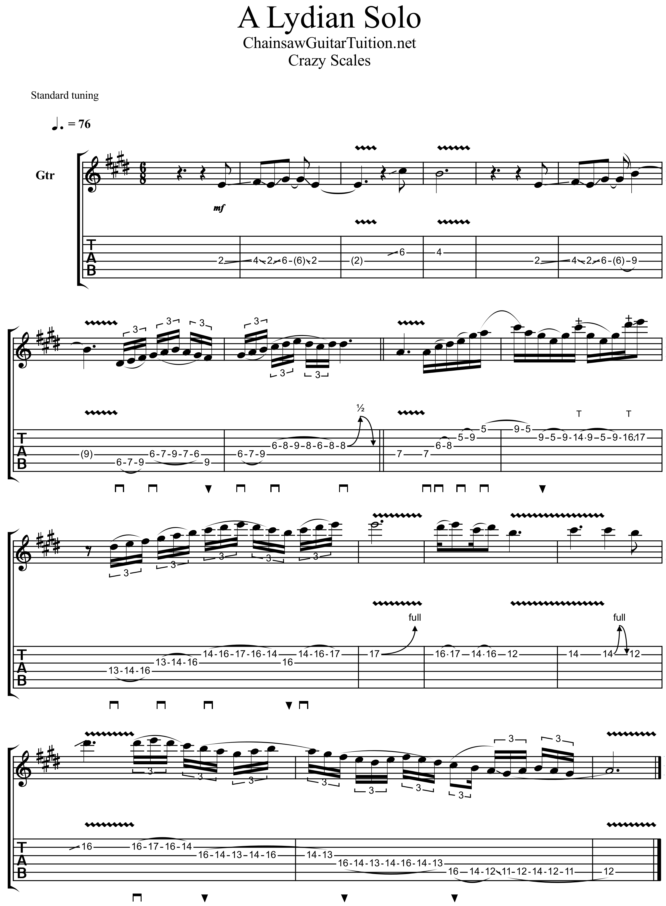 an example guitar solo using the Lydian mode