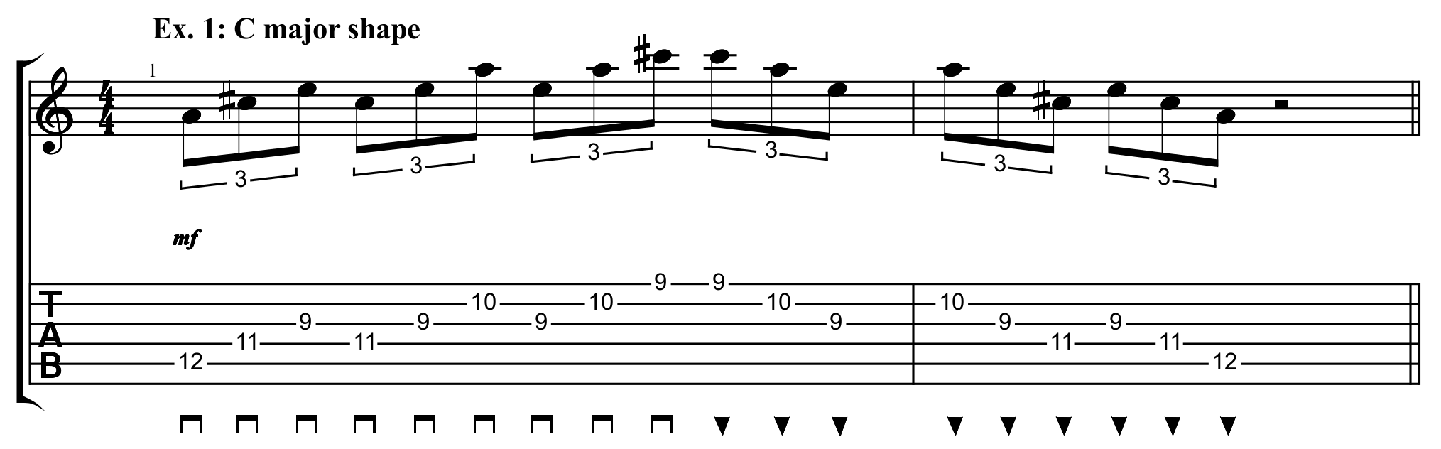 C major shaped sweep arpeggio exercise