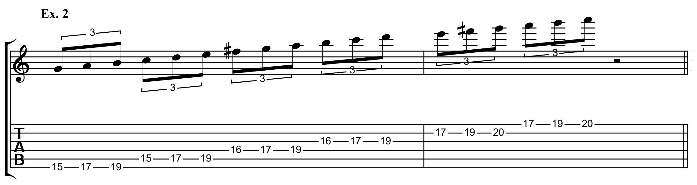 the third, three note per string, E minor shape, in 15th position