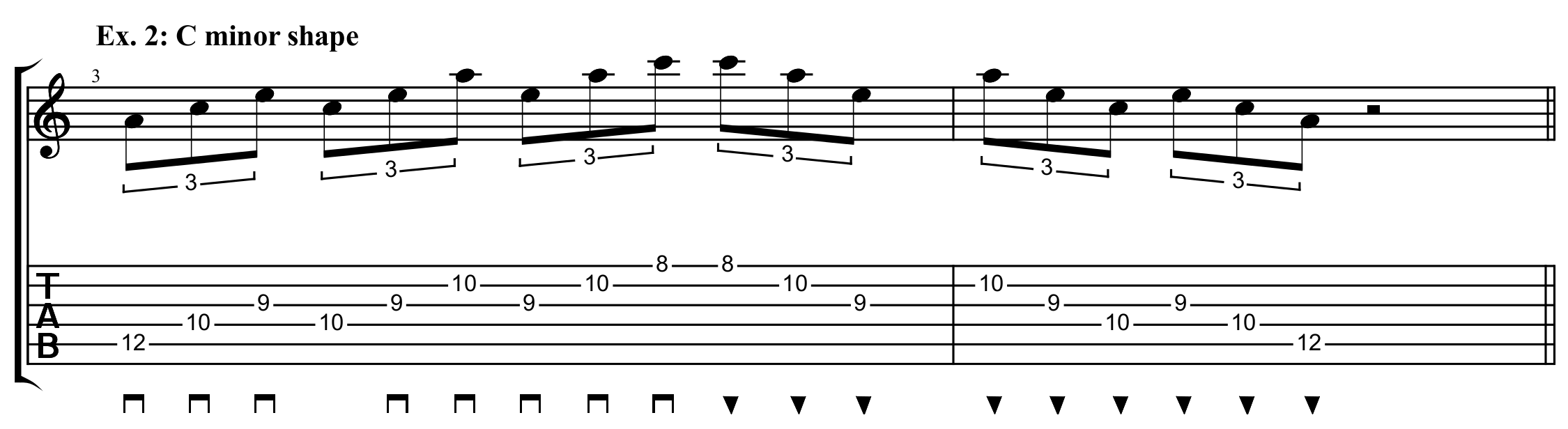 C minor shaped arpeggio exercise with sweep picking