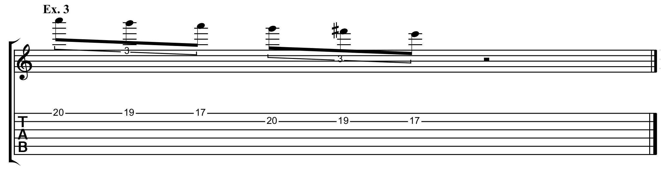 a descending patter using the E natural minor scale on guitar