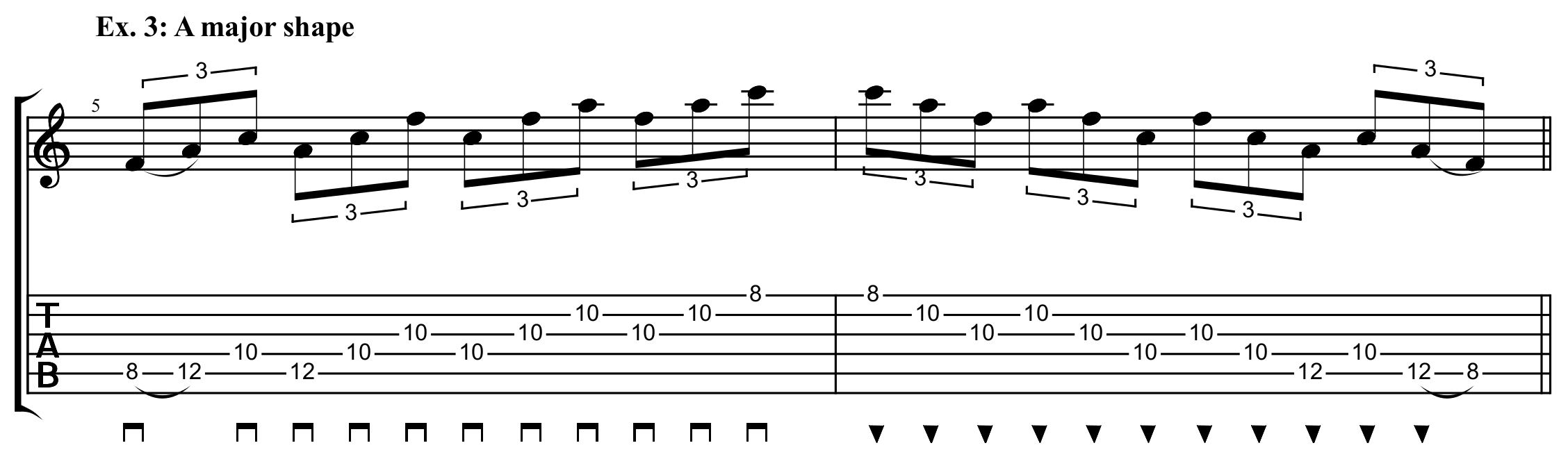 A major sweep arpeggio shape exercise for note definition