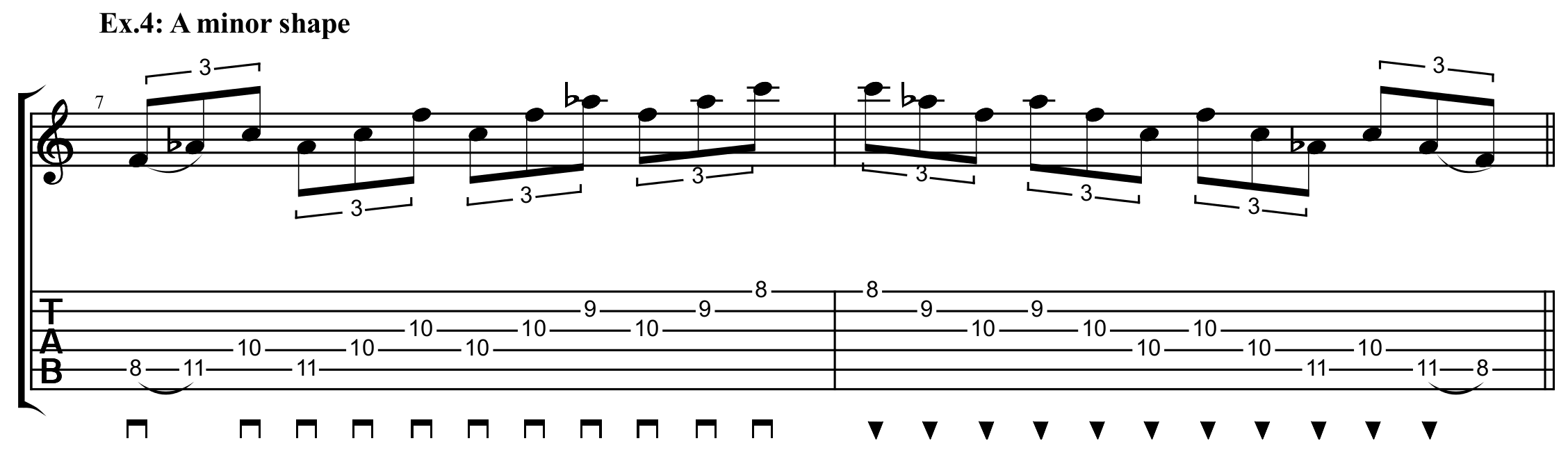 A minor shaped 3 note chunk sweep exercise