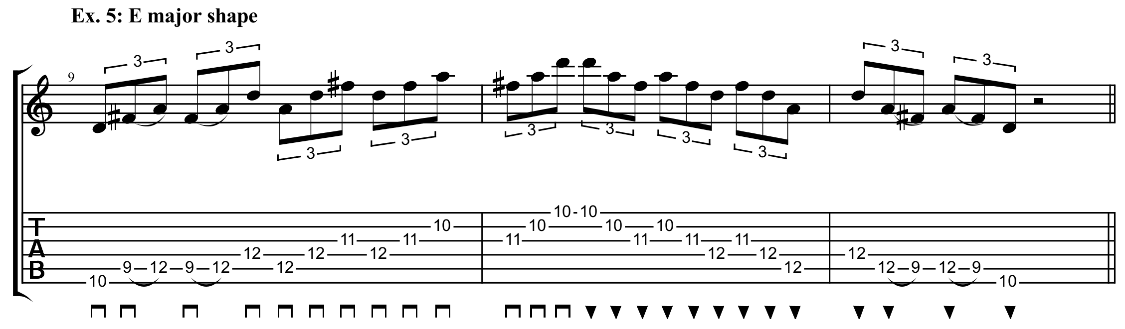 E major sweep arpeggio shape done in an exercise