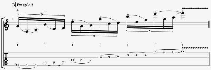 the second more advanced pentatonic scale tapping lick