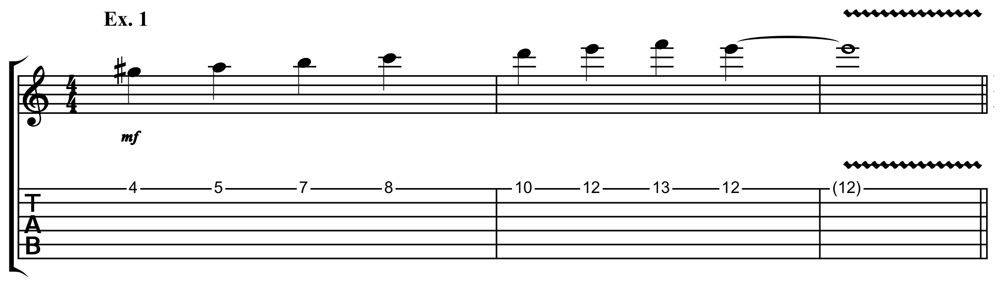 the A harmonic minor scale along the high E string of the guitar