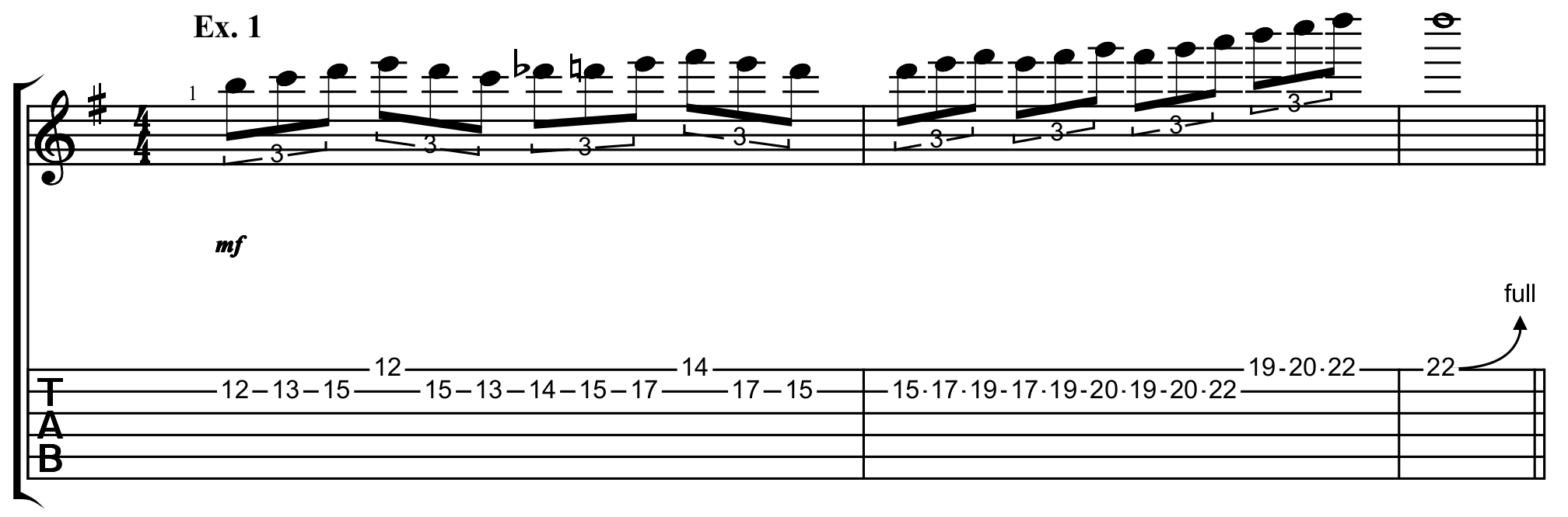 a heavy metal scale run in the key of E minor