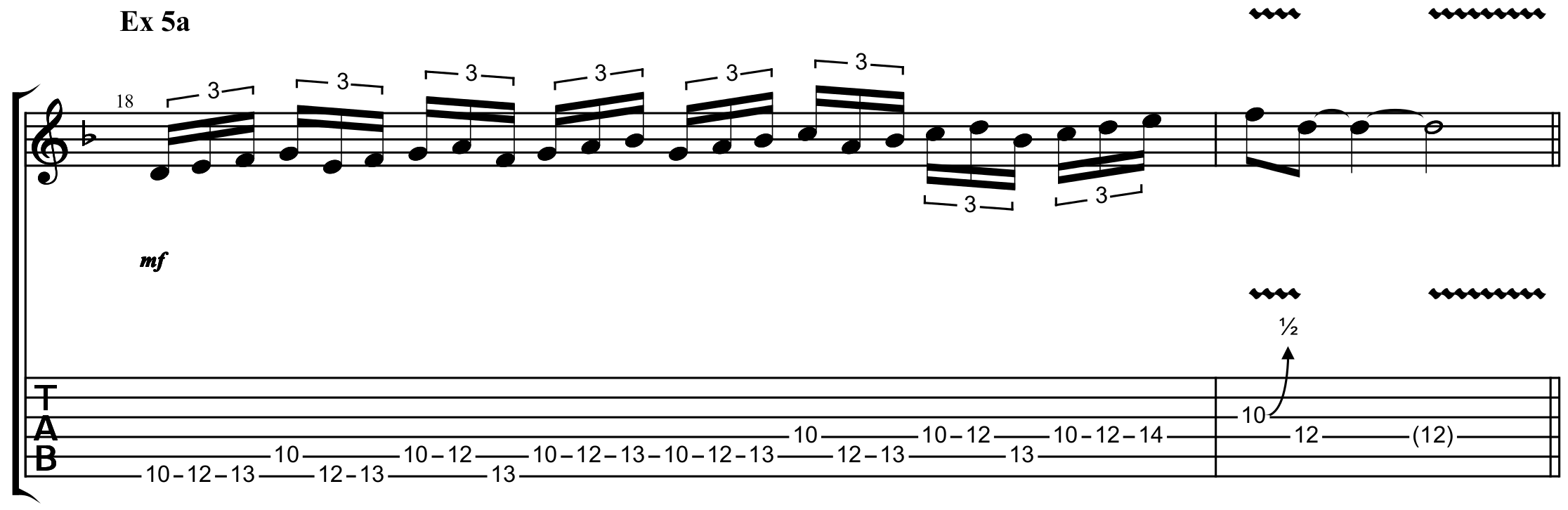 a four note pattern over a sextuplet rhythm scale run