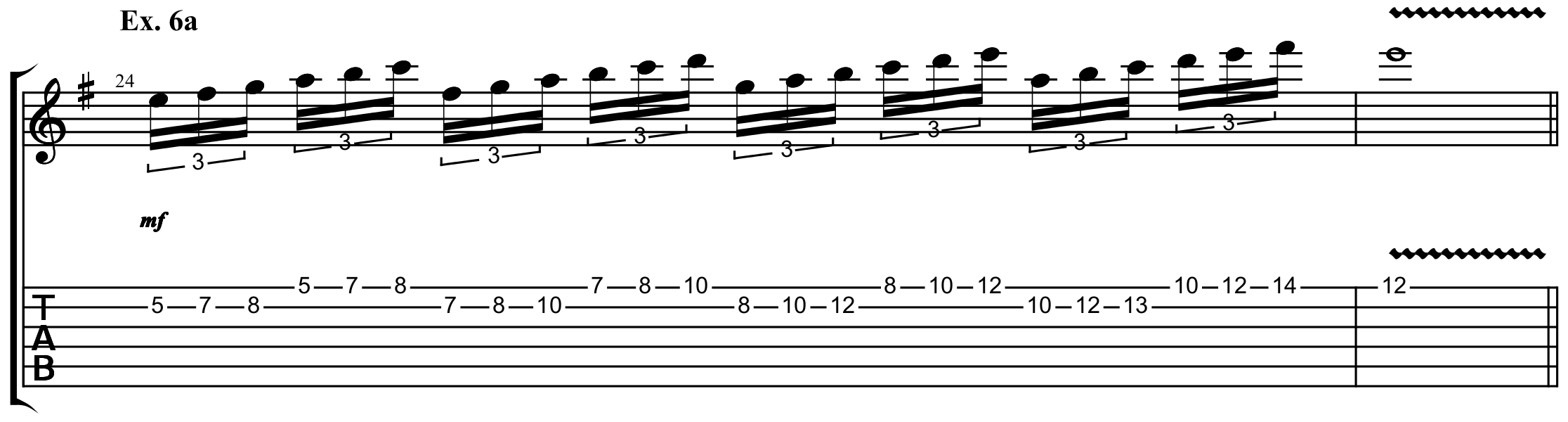 a two string lead guitar pattern played through many shapes