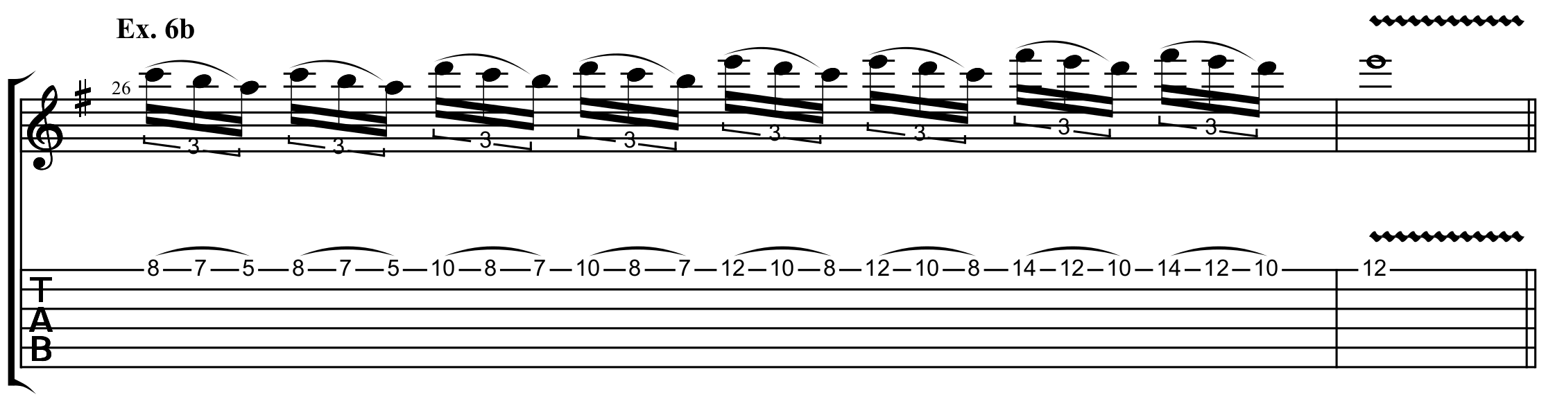 a single string lead guitar pattern that uses many scale shapes across the neck